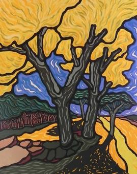 Grand soleil sur les arbres